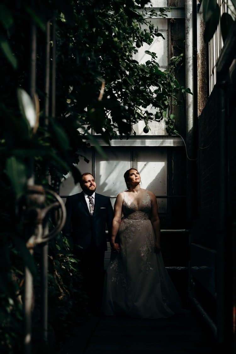 Bride and groom at the Rockefeller Greenhouse before their 78th Street Studios Wedding