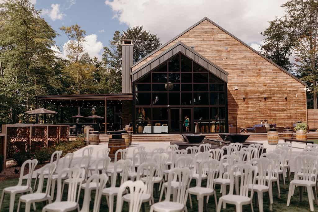 ceremony location with chairs at Sapphire Creek Winery