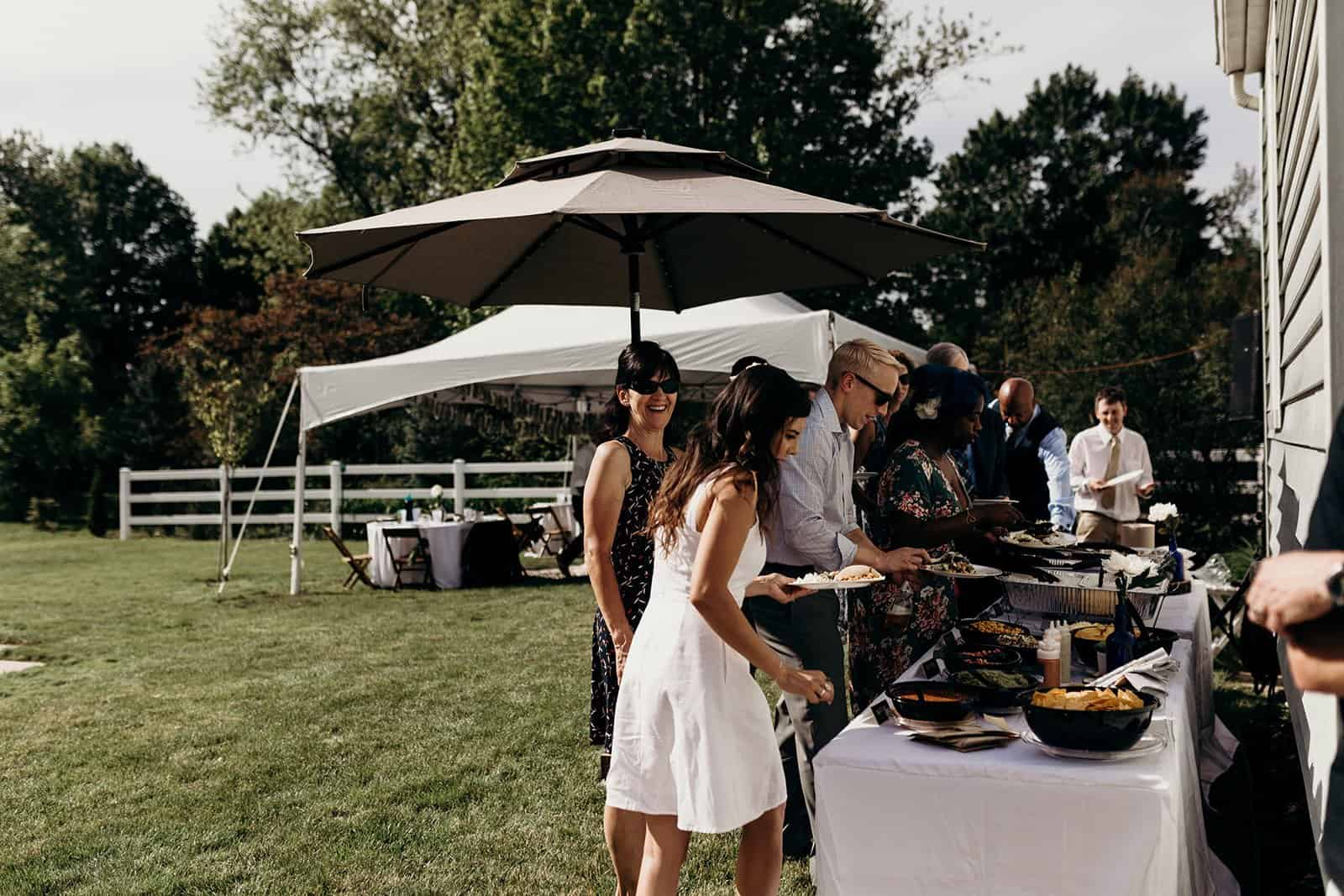 buffet line in backyard wedding