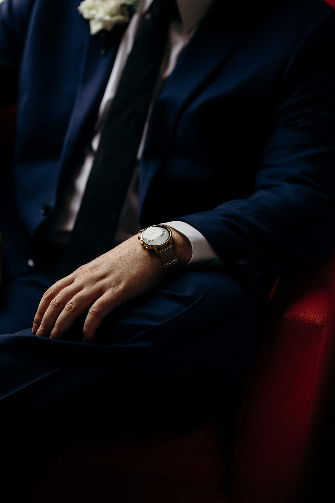 focused shot of watch on a man