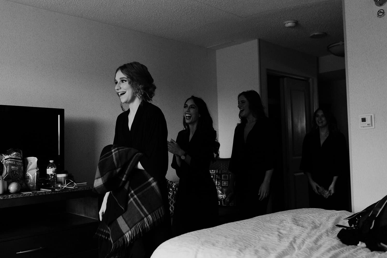 Bridesmaids enter to see bride for the first time