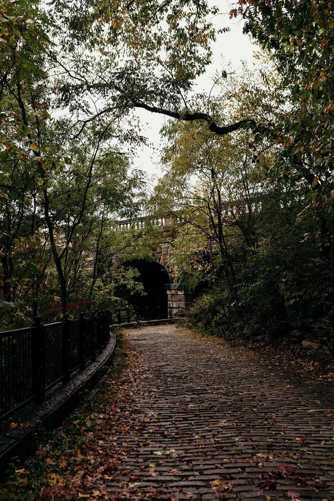 walkway towards covered bridge