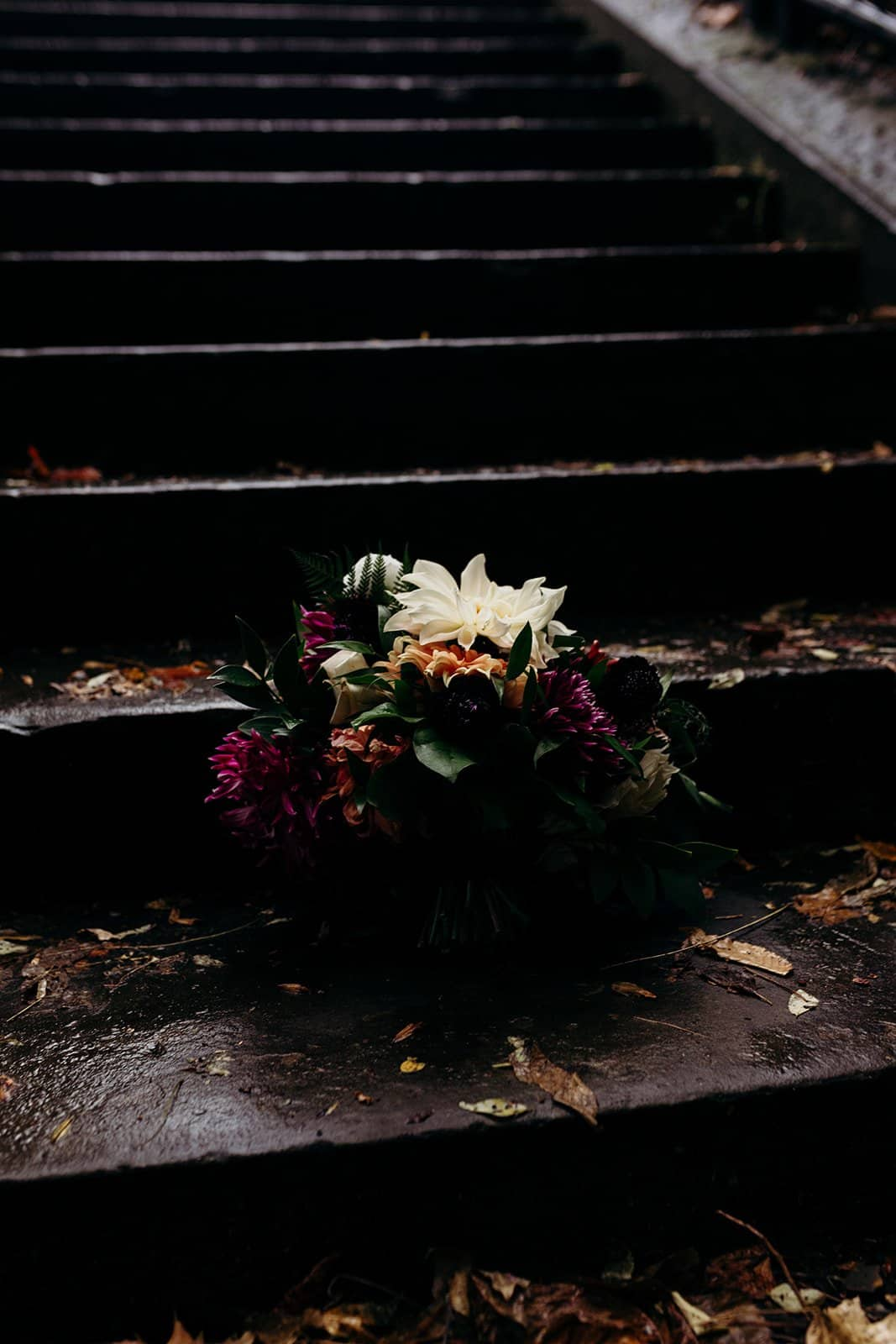 bouquet sitting on steps