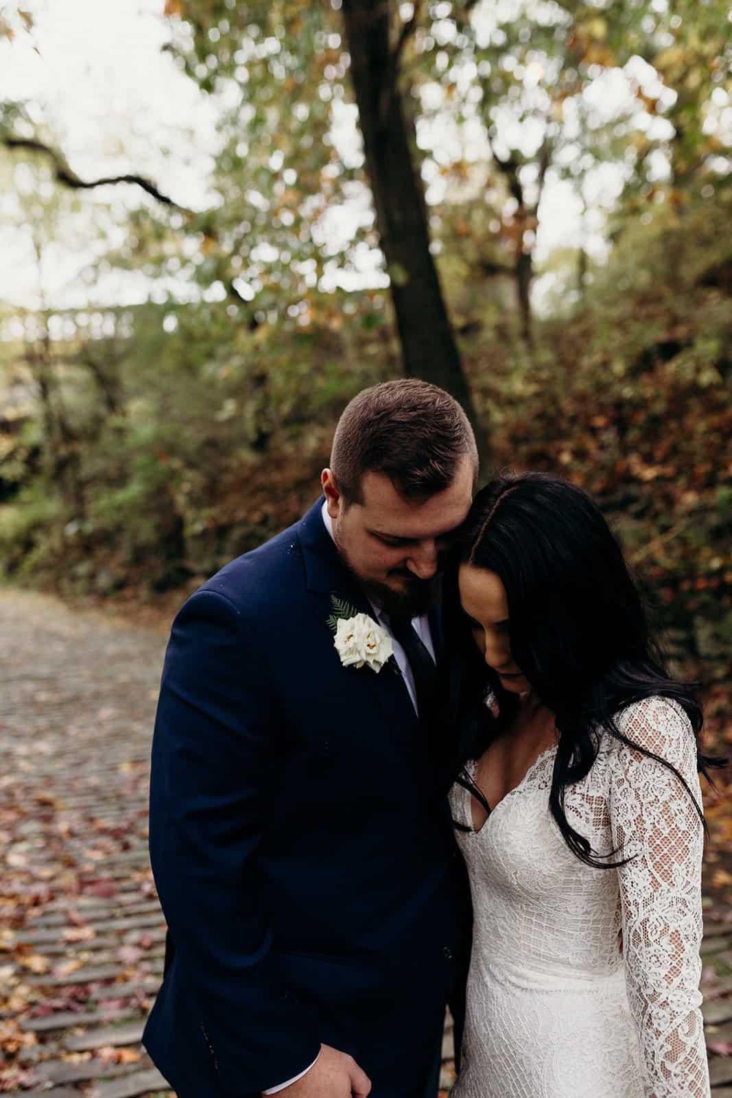 bride and groom close eyes