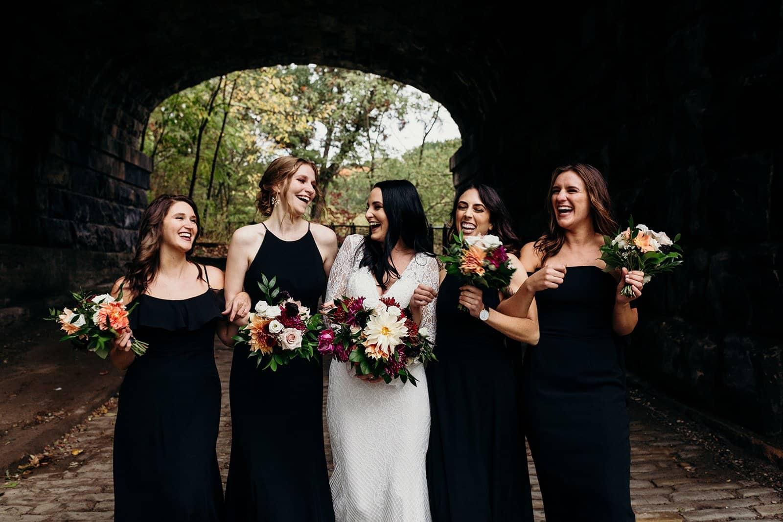 bridesmaids pose during formals