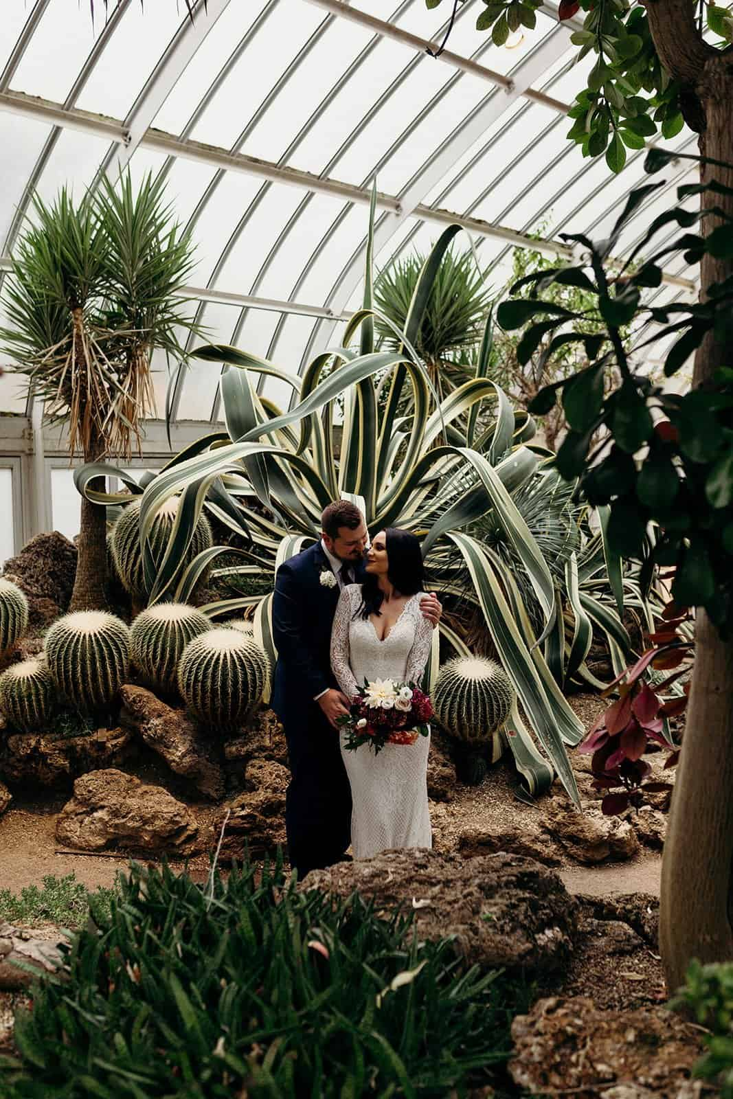 Bride and Groom in the desert room during a Phipps conservatory wedding