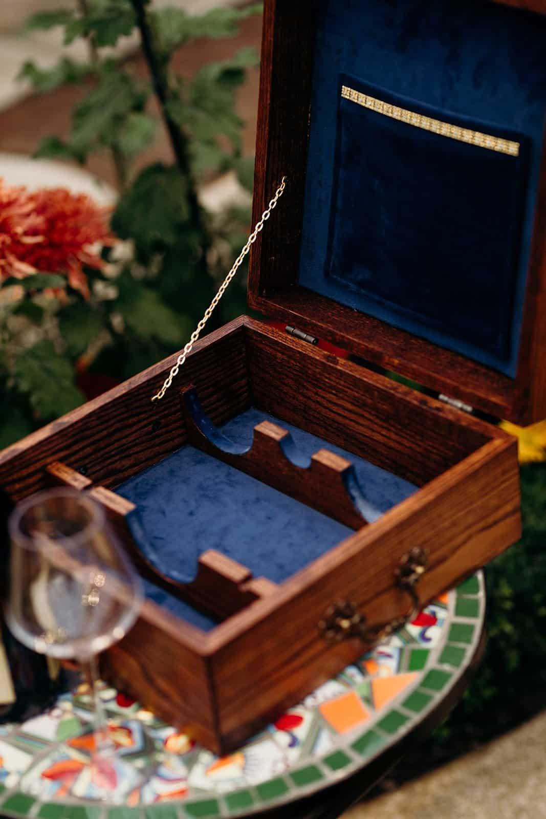 open box with blue velvet