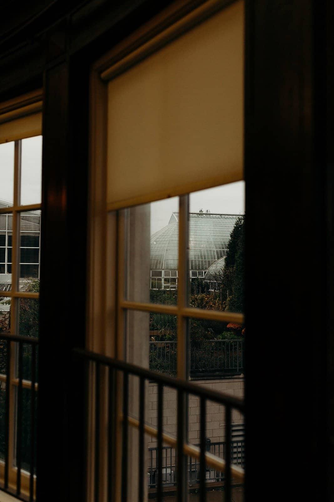 Phipps Conservatory through a window pane