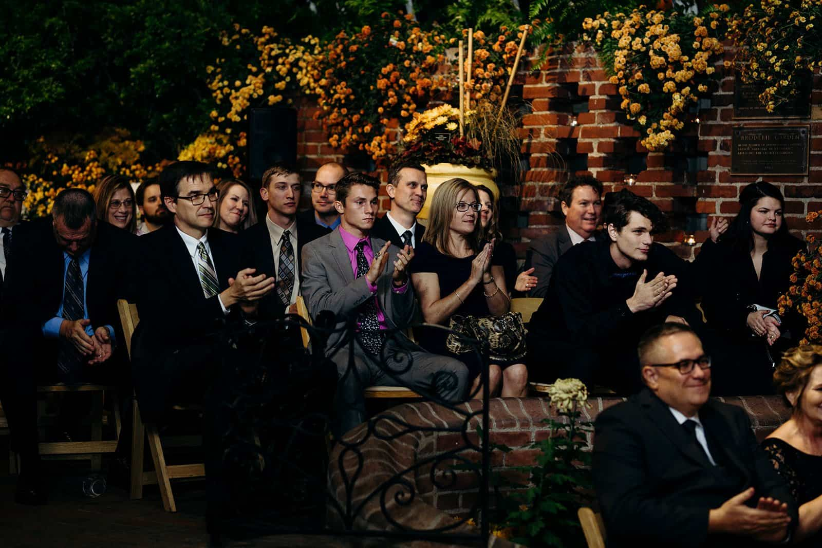 group of wedding guests celebrating
