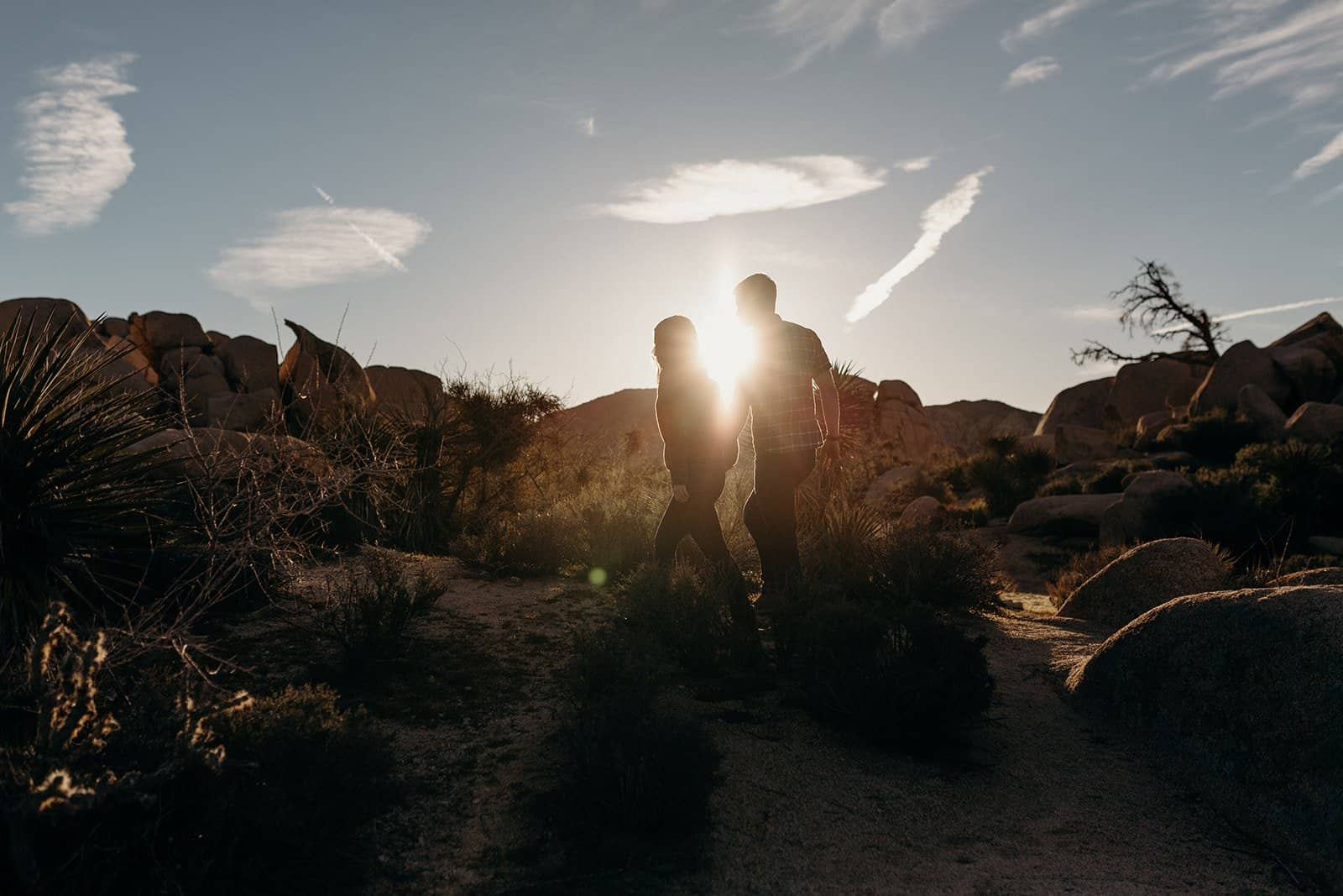 Couple holding hands and walk towards sunrise in Joshua Tree National Park