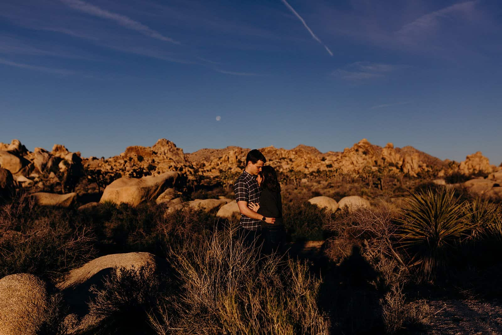 Sunrise over Joshua Tree National park with couple embracing