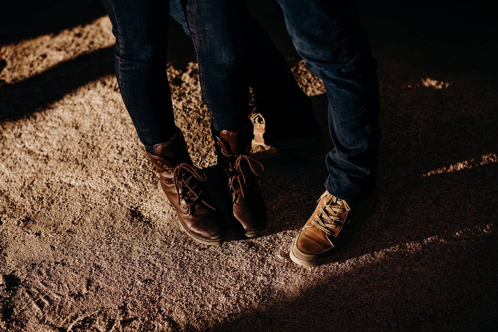 couples shoes in Joshua Tree trip sunrise