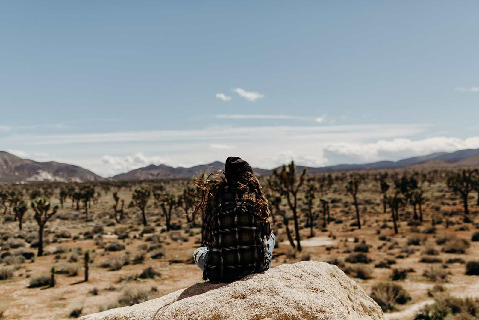 woman sitting on boulder overlooking Joshua Tree National Park