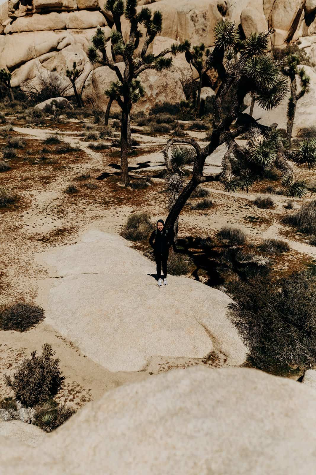 Woman standing on rock in Joshua Tree National Park