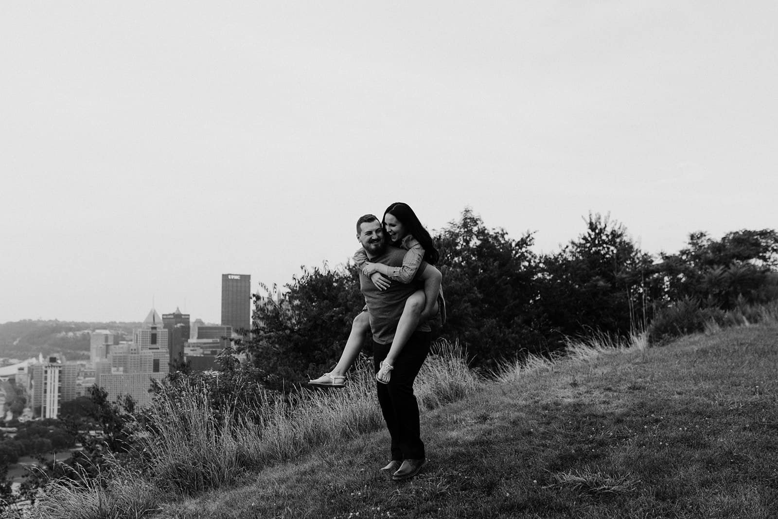 Piggy back ride on Mount Washington hillside in Pittsburgh